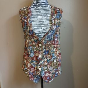 Vintage embroidered teddy bear vest